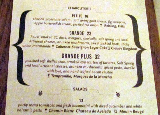 Charcuterie menu at TASTE