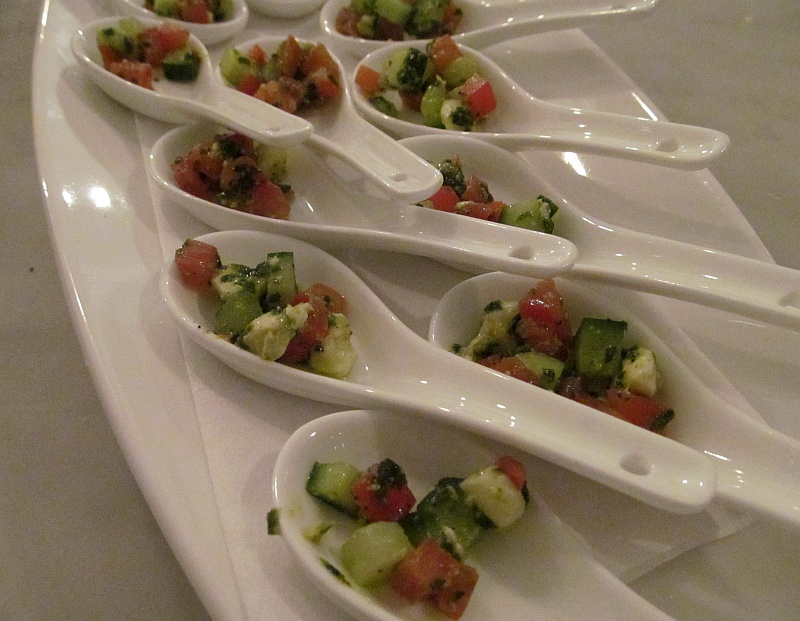 salad of roma tomatoes Bocconcini and cucumber