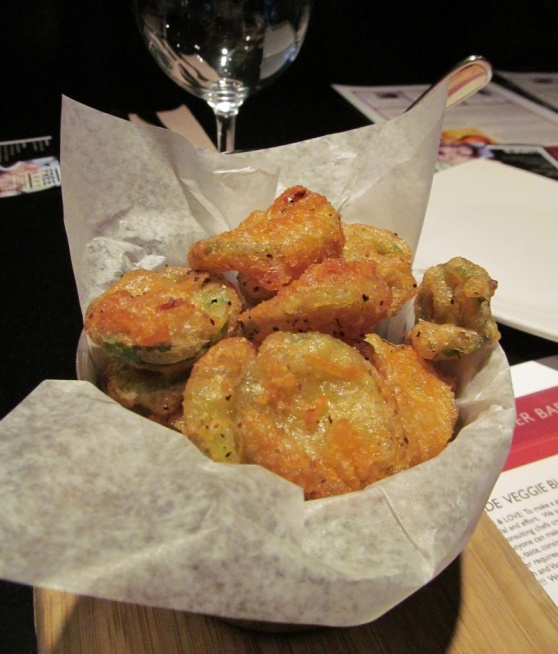 A side of deep fried pickles and jalapenos