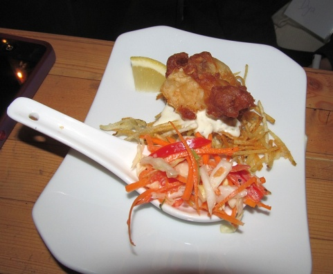Grey Goose battered ling cod bite from Electric Owl