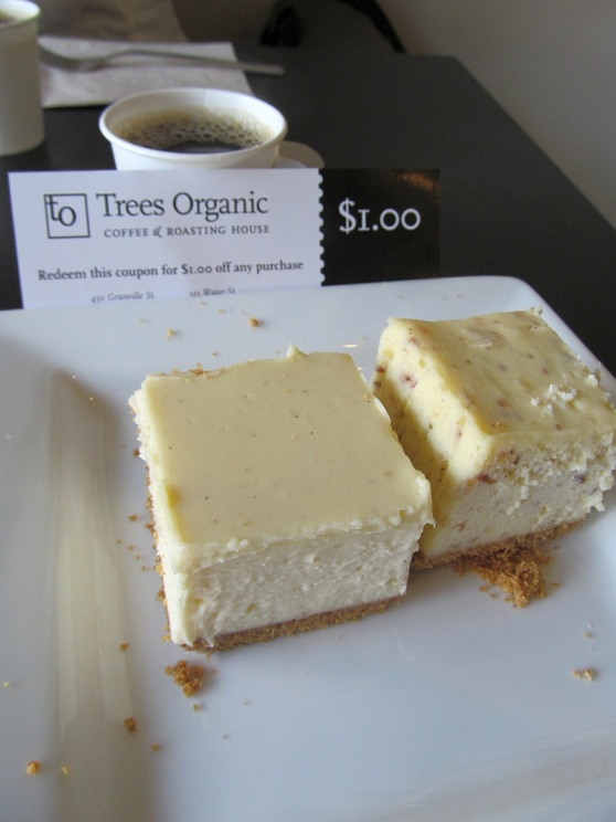 Trees Organic New York cheesecake on left and Marzipan on right