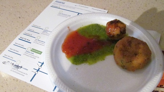 Aloo Tikki and Chicken Goliya