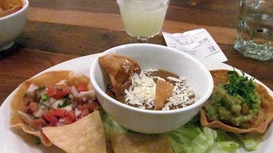 Ceviche beans and guacamole from La Mezcaleria