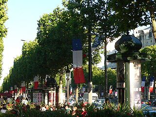 The Champs-Élysées decorated with flags for Bastille Day