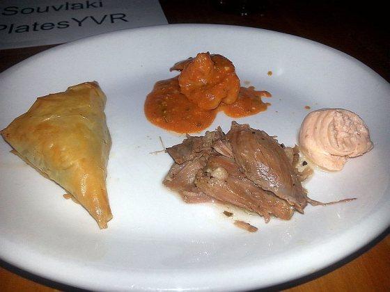 Anatoli Souvlaki with tasting plate with caviar spread prawns spanakopita and lamb