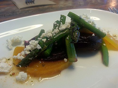 Beet salad with asparagus and green beans at Tractor