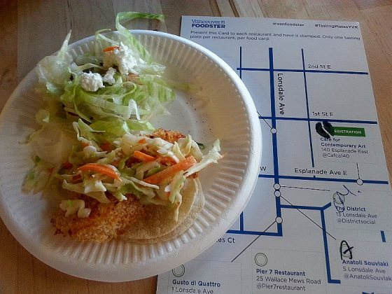 Cafe for Contemporary art with a fish taco and vegetarian taco