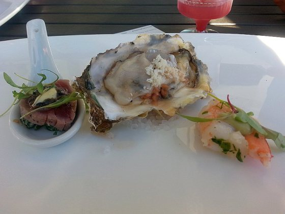Pier 7 with sear tuna shrimp and oyster