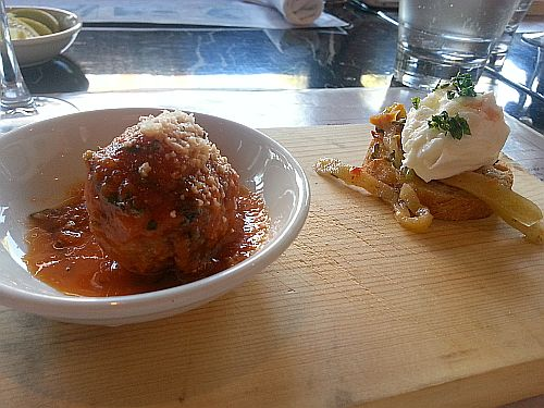 Trattoria Italian Kitchen meatballs and burrata