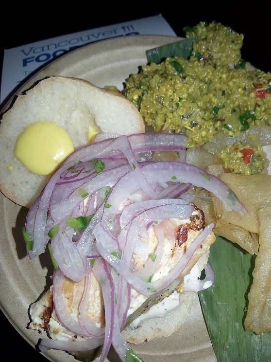 Chicha salmon slider quinoa salad and home made potato chips