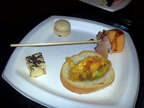 Urban Fare crostini, proscutto and melon, cheese with chocolate ,and macaron