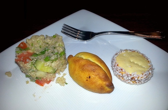 Beef Saltena, Quinoa Salad, and Alfajor cookie