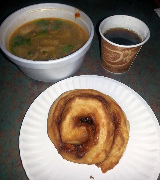 Doichaang coffee, Cinnamon roll, and Tom Yum soup from Sweet Tooth Cafe