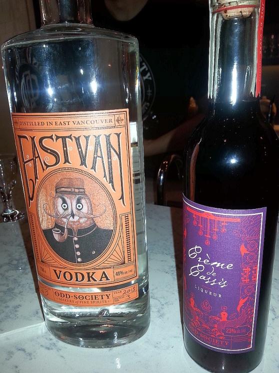 Odd Spirits East Van Vodka and Creme de Cassis liqueur