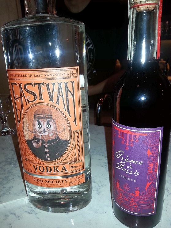 Odd Spirits East Van Vodka and Creme de Cassis liqueur