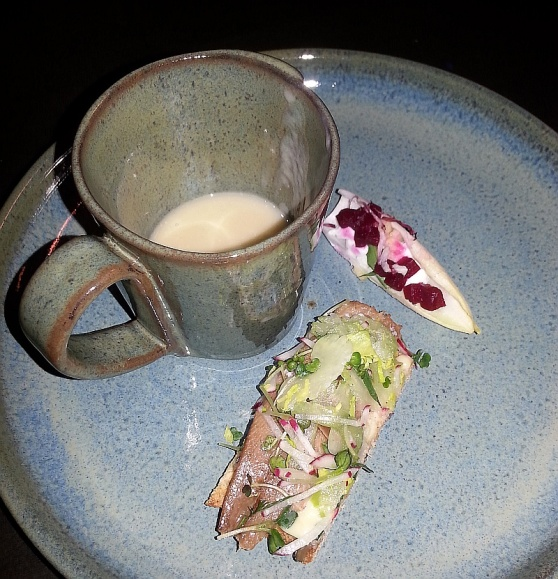 Parsnip soup, Sardines on toast, and Beets and apples from Kessel and March