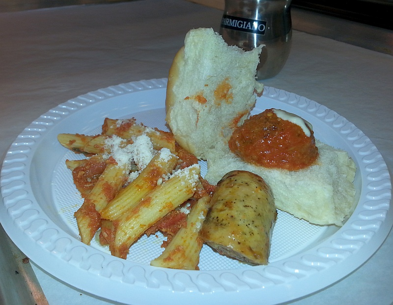 Cioffi's penne chicken sausage and meatball slider