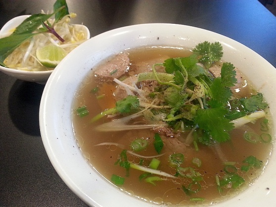Special pho with meatball and beef brisket