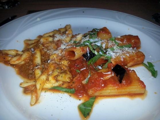 Strozzapreti con ragu bolognese and Rigatoni alla Norma