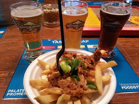 Granville Island Brewing pulled pork poutine and Lager Hefeweizen and Scottish Ale