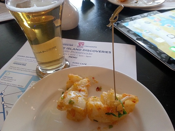 Marina Light Lager and chili squid from Dockside Lounge