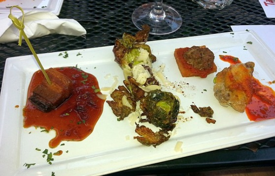 Tapas 23 with pork belly, wings, and brussel sprouts