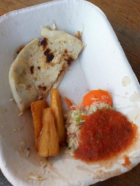 Guanaco Food Truck: Pork Chicharrón tortilla, fried cassava, and salad