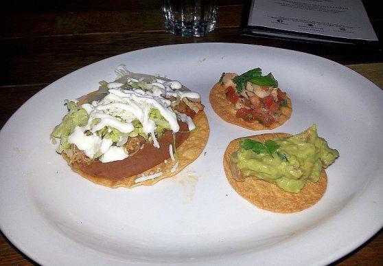 La Mezcaleria: Pacific Red Snapper Ceviche, Guacamole, and Tostada Oaxaquena de Frijoles