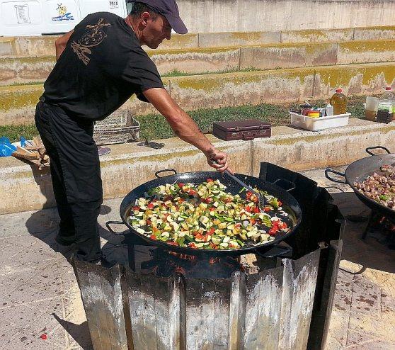 Paella - the veggie version getting stirred