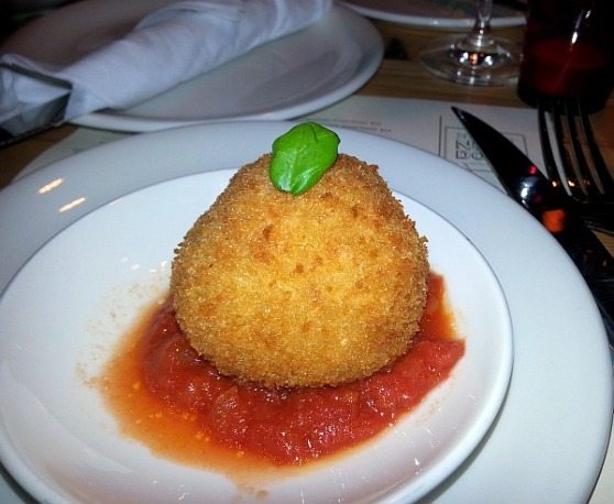 Arancini with pork ragu and San Marzano tomato sauce