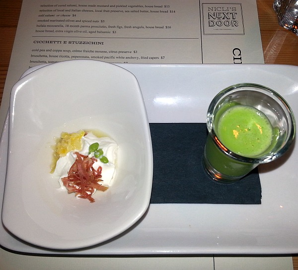 Cold pea and coppa soup with creme fraiche mousse and citrus preserve
