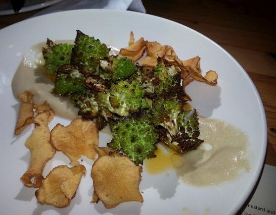 Roasted Romaneso and sunchoke puree