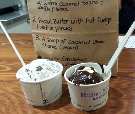 Rain or Shine ice cream coconut chocolate chip and peanut butter with hot fudge