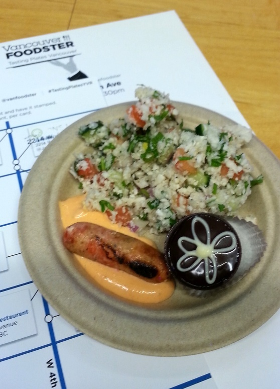 Whole Foods tabouli salad, salmon sausage, and sweet petite