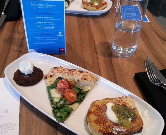 Bella Gelateria Yaletown italian toast, Il Tricolore brunch pizza, and chocolate cookie