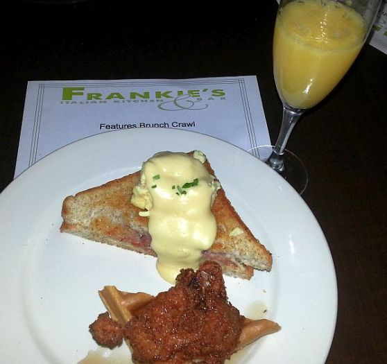 Frankies chicken and waffles, Monsieur Andre sandwich, and a mimosa