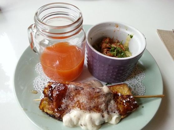 LilyMae's pulled pork grits beet carrot juice and French toast