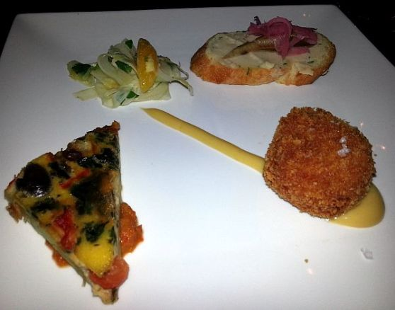 Salida 7 bacalo croquette veggie tortilla sardine on bean puree toast and fennel salad