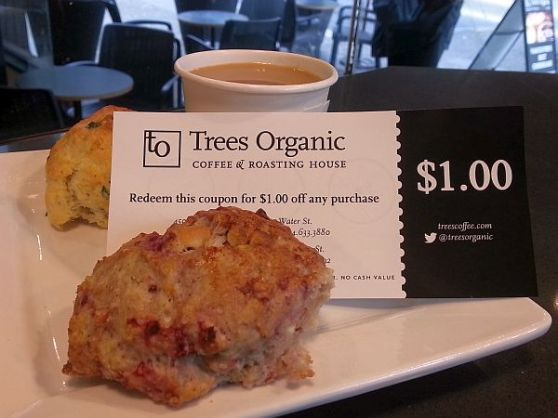 Trees Organic spinach and feta scone, raspberry white chocolate scone, and Peruvian coffee