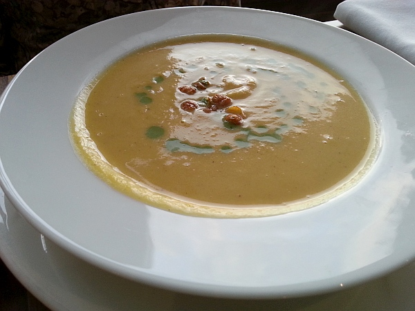 Butternut squash soup with cajun crispy chickpea and basil cream