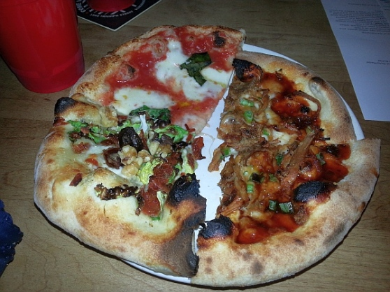 Famoso Margherita, Cavoletti, and Korean BBQ Pork pizza slices