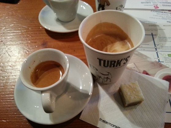 Turks Velvet Cortado Butter Espresso and a Lemon Square