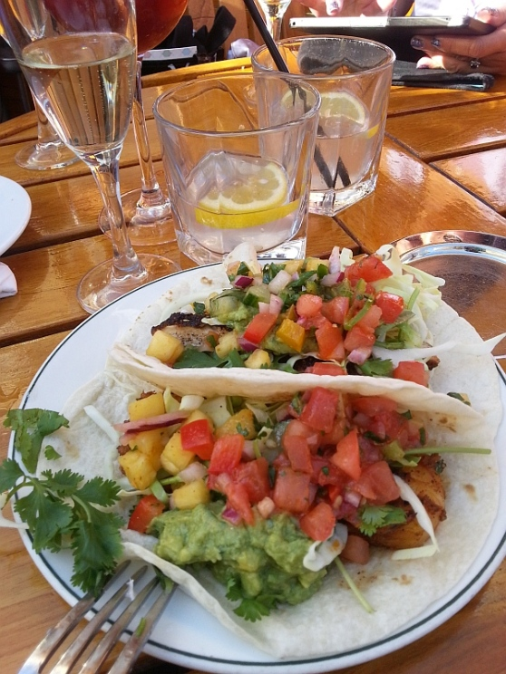 Two tacos from Joe Fortes rooftop patio