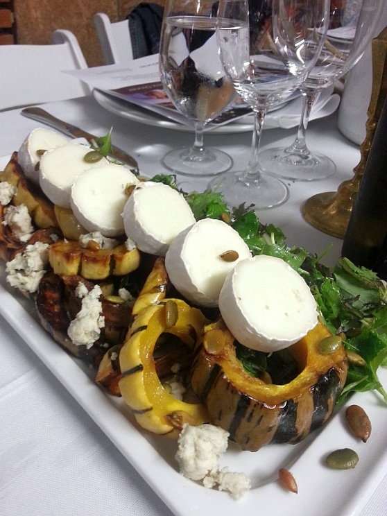Campbells Gold honey roasted local delicata squash with pumpkin seeds, Abbotsford goat cheese from Mt Lehman Cheese