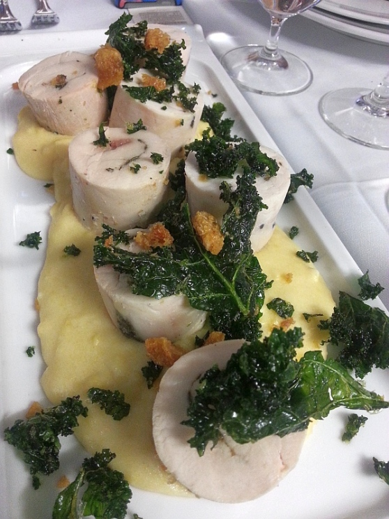 Maple Hills Farm's chicken roulade with creamy polenta and kale chips