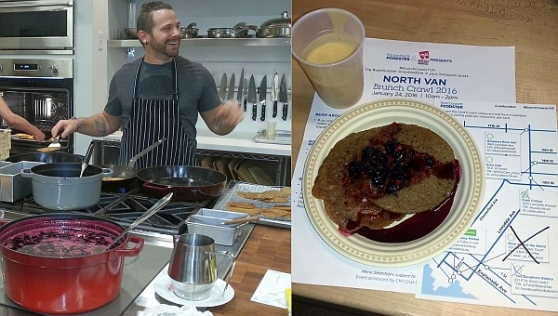 Cook Culture - Chef Jonathan Chovancek making red lentil pancakes. The pancakes and smoothie for us
