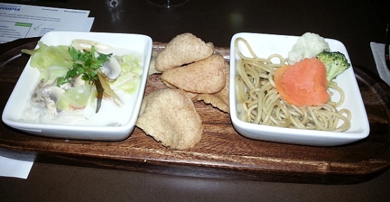 U and I Thai with Spaghetti Kee Mao, Guay Tieow Tom Kha Gai, and shrimp chips