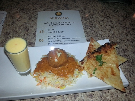 Nirvana - Malai kofta on basmati rice, Mozza naan and Mango lassi
