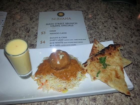 Nirvana - Malai kofta on basmati rice, Mozza naan and Mango lassi