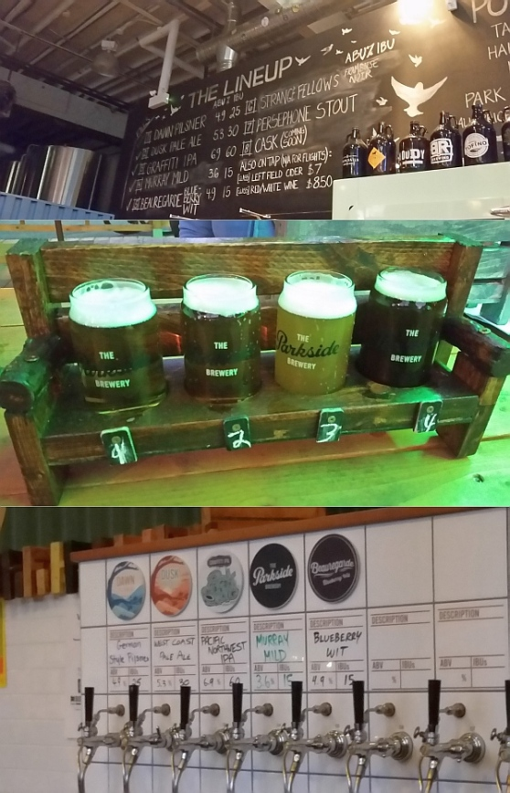 The Parkside Brewery Pilsner, Pale Ale, IPA, and Murray Mild flight